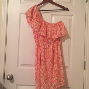 Dresses & Skirts - Peach floral one shoulder dress